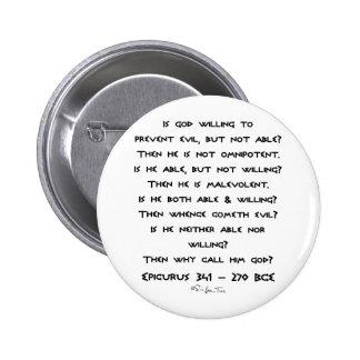 ¿Epicurus - por qué llámelo dios? - Llano Pin Redondo De 2 Pulgadas
