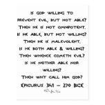 ¿Epicurus - por qué llámelo dios? - Llano Tarjeta Postal