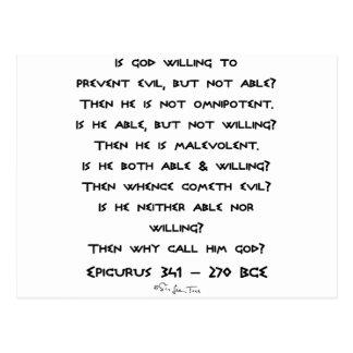 ¿Epicurus - por qué llámelo dios? - Llano Tarjetas Postales