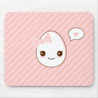 epicute girly egg pink stripes pattern mouse pad