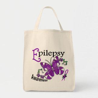 Epilepsia de la mariposa 2 del vitral bolsas de mano