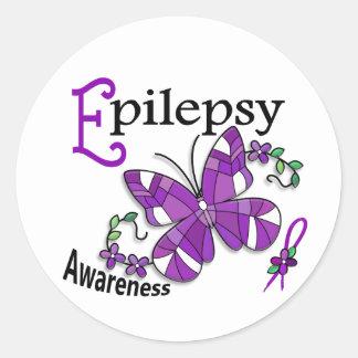 Epilepsia de la mariposa 2 del vitral pegatina redonda