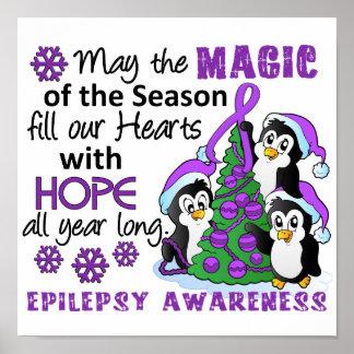 Epilepsia de los pingüinos del navidad póster