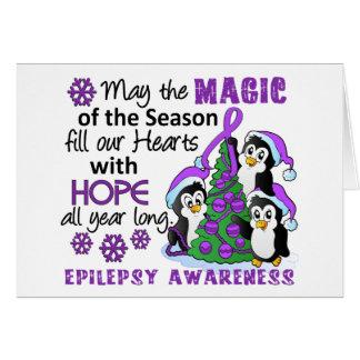 Epilepsia de los pingüinos del navidad tarjeta de felicitación