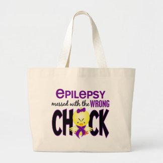 Epilepsia ensuciada con el polluelo incorrecto bolsa tela grande