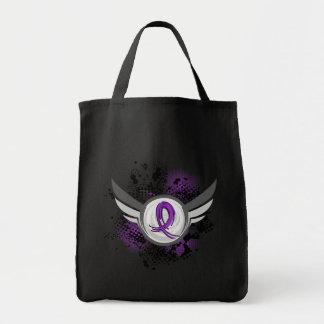Epilepsia púrpura de la cinta y de las alas bolsa de mano