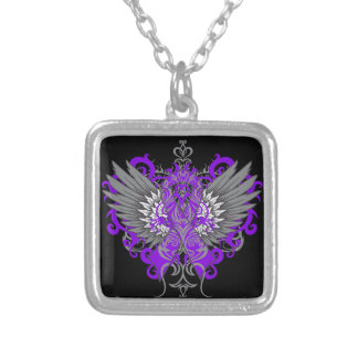 Epilepsy Awareness Cool Wings Square Pendant Necklace
