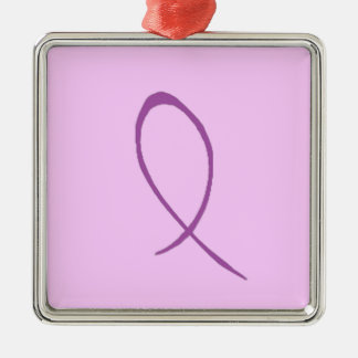 Epilepsy Awareness Customizable Square Metal Christmas Ornament