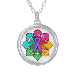 Epilepsy Awareness Matters Petals Round Pendant Necklace