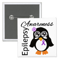 Epilepsy Awareness Penguin 2 Inch Square Button