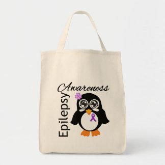 Epilepsy Awareness Penguin Grocery Tote Bag