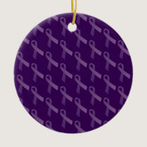 epilepsy awareness Purple Ribbon Ceramic Ornament