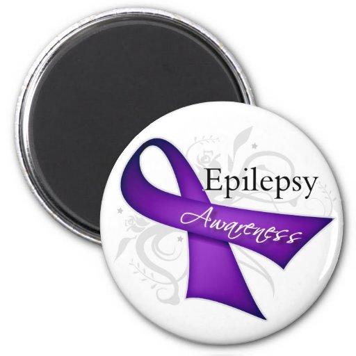 Epilepsy Awareness Ribbon 2 Inch Round Magnet