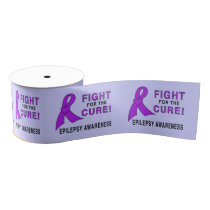 "Epilepsy Awareness Ribbon: Fight for a Cure! 3"" Grosgrain Ribbon"