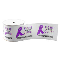 """Epilepsy Awareness Ribbon: Fight for a Cure! 3"""" Grosgrain Ribbon"""