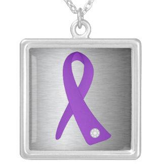 Epilepsy Awareness Ribbon Square Pendant Necklace
