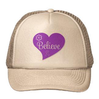 Epilepsy Believe Purple Heart Trucker Hat
