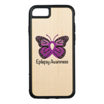 Epilepsy Butterfly Awareness Ribbon Carved iPhone 8/7 Case