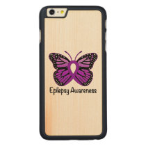 Epilepsy Butterfly Awareness Ribbon Carved Maple iPhone 6 Plus Slim Case