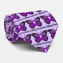 Epilepsy Butterfly Awareness Ribbon Neck Tie