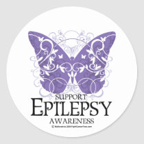 Epilepsy Butterfly Classic Round Sticker