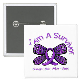 Epilepsy Butterfly I Am A Survivor 2 Inch Square Button