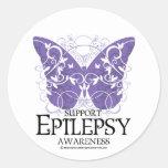 Epilepsy Butterfly Round Stickers