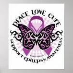 Epilepsy Butterfly Tribal Poster