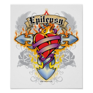Epilepsy Cross & Heart Poster