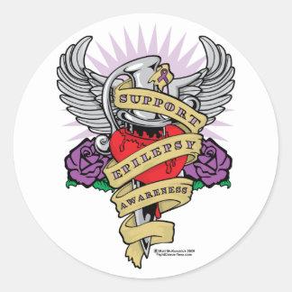 Epilepsy Dagger and Heart Tattoo Classic Round Sticker