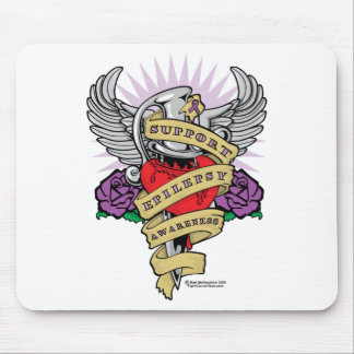 Epilepsy Dagger and Heart Tattoo Mouse Pad