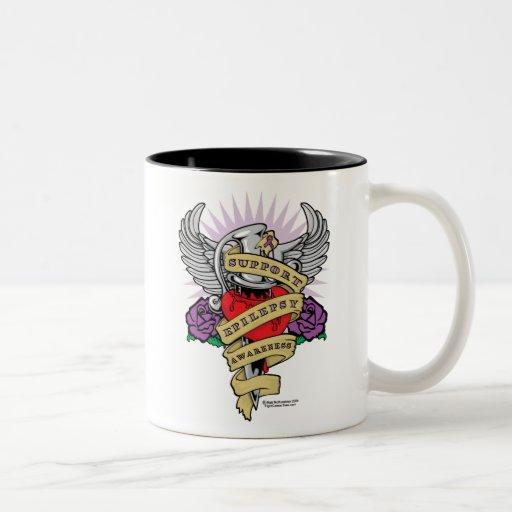 Epilepsy Dagger and Heart Tattoo Two-Tone Coffee Mug