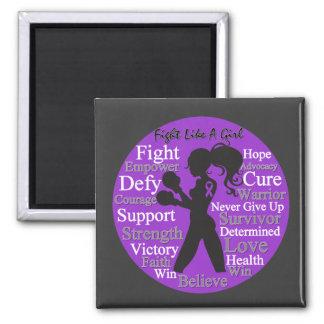 Epilepsy Fight Like A Girl Collage Fridge Magnet
