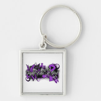 Epilepsy Fight Like A Girl Grunge Butterfly Silver-Colored Square Keychain
