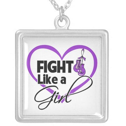 Epilepsy Fight Like a Girl Heart Square Pendant Necklace
