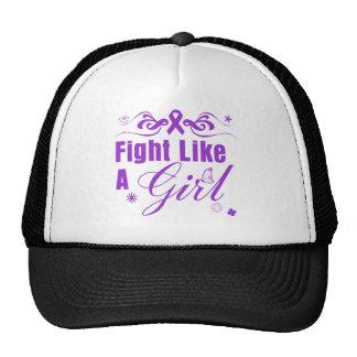 Epilepsy Fight Like A Girl Ornate Trucker Hats