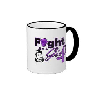Epilepsy Fight Like A Girl - Retro Girl Coffee Mug