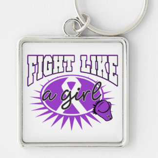 Epilepsy Fight Like A Girl Sporty Callout Silver-Colored Square Keychain