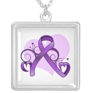Epilepsy Floral Heart Ribbon Square Pendant Necklace