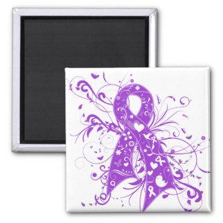Epilepsy Floral Swirls Ribbon 2 Inch Square Magnet