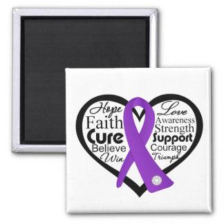 Epilepsy Heart Ribbon Collage Fridge Magnets