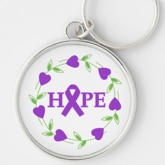 Epilepsy Hearts of Hope Silver-Colored Round Keychain
