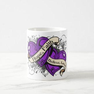Epilepsy Hope Faith Dual Hearts Coffee Mug
