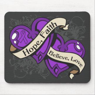 Epilepsy Hope Faith Dual Hearts Mouse Pad