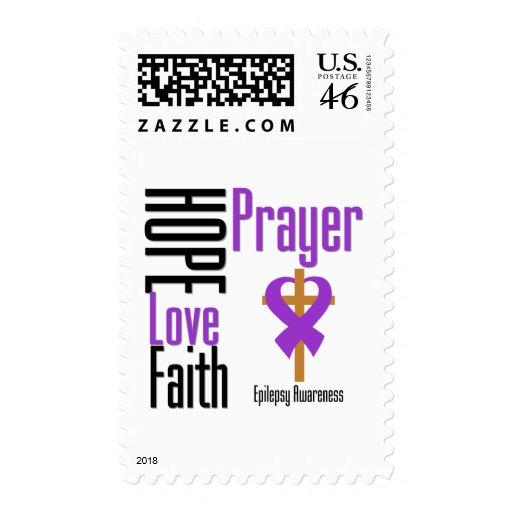 Epilepsy Hope Love Faith Prayer Cross Postage Stamps