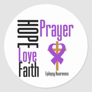 Epilepsy Hope Love Faith Prayer Cross Classic Round Sticker