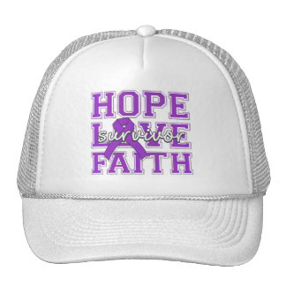 Epilepsy Hope Love Faith Survivor Trucker Hats