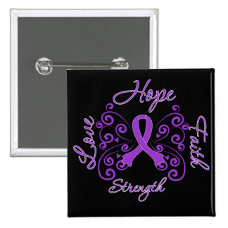 Epilepsy Hope Motto Butterfly 2 Inch Square Button