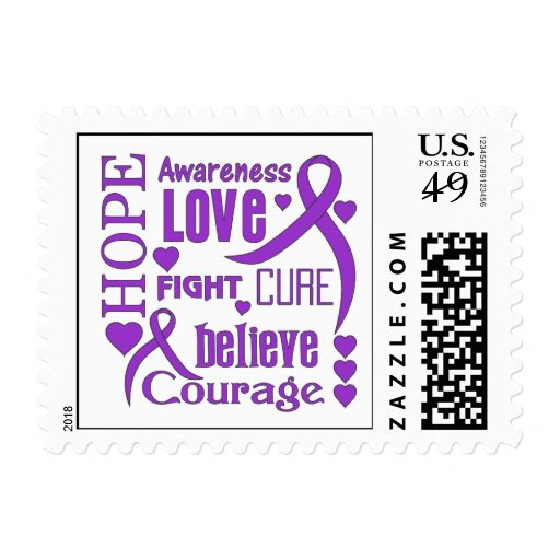Epilepsy Hope Words Collage Stamps