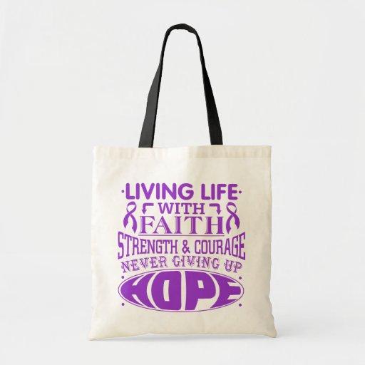 Epilepsy Living Life with Faith Canvas Bags